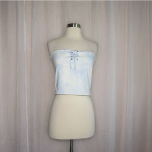 Me to We Pacsun | Blue Tie Dye Lace Up Tube Top